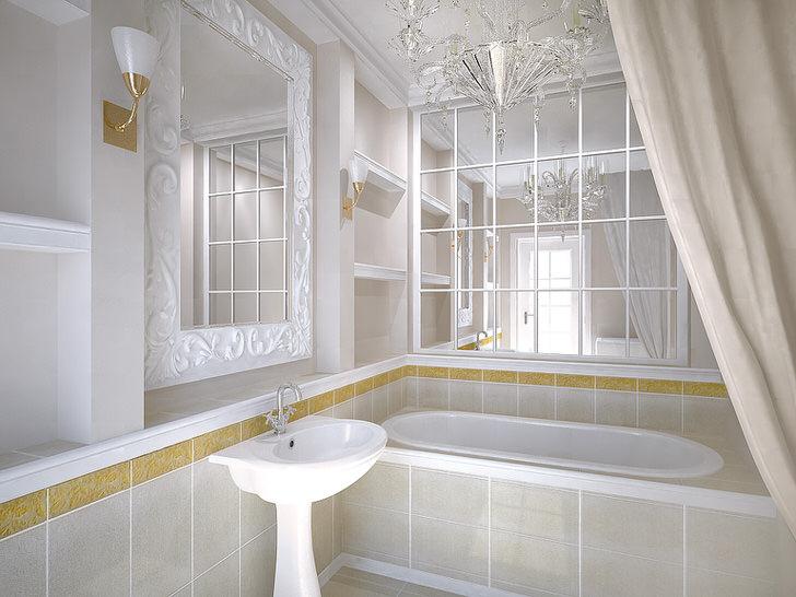 Мозаика из зеркал в ванной