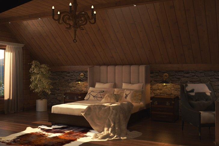 В оформлении интерьера спальни в стиле шале важна каждая мелочь.