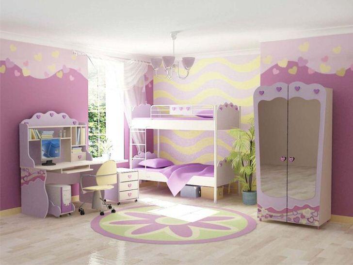 Гарнитур для детской комнаты двух сестер делает атмосферу сказочной и волшебной.
