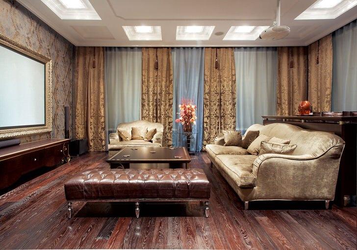 Мебель для гостиной в неоклассиком стиле делает обстановку помпезной и роскошной.