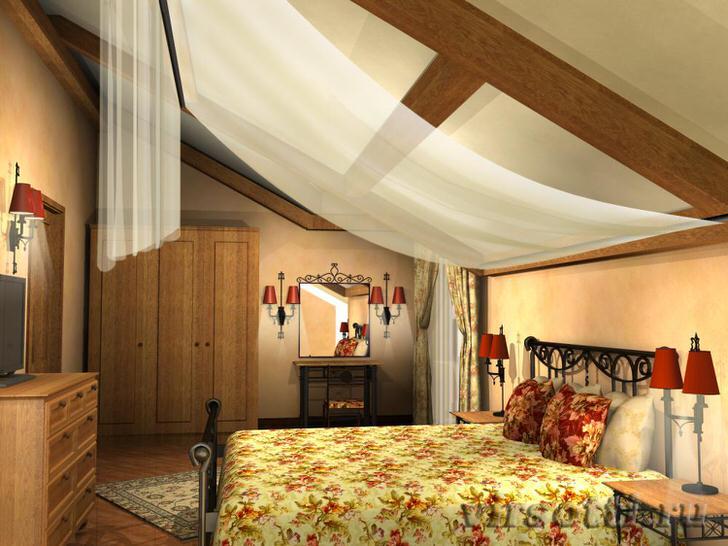 Легкий балдахин из полупрозрачной ткани - необычное украшение интерьера спальни в стиле шале.