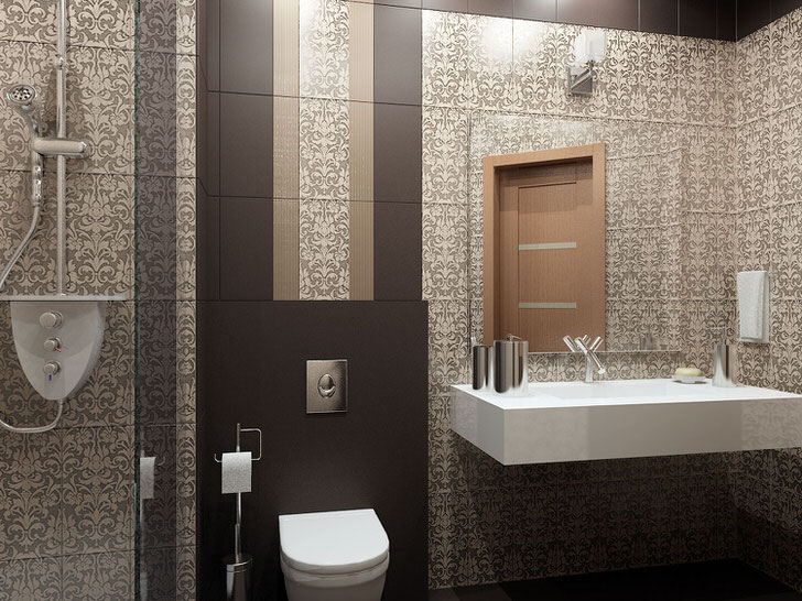 Для декора ванной комнаты дизайнер подобрал керамическую плитку в стиле арт деко. Вычурный узор вытянутой формы делает потолки визуально более высокими.