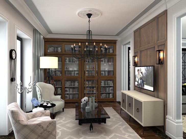 Интерьер гостиной в неоклассическом стиле примечателен свой красотой и функциональностью.