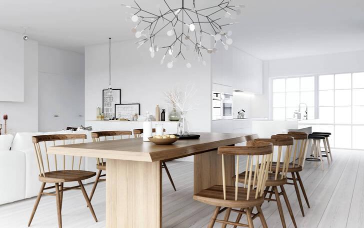 Стильная столовая в стиле скандинавский минимализм.