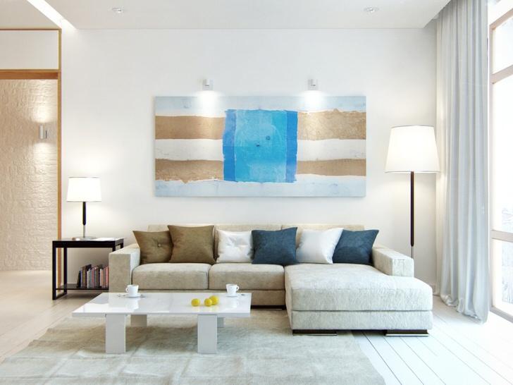 Большая картина без рамы - отличный вариант для украшения интерьера в стиле скандинавский минимализм.