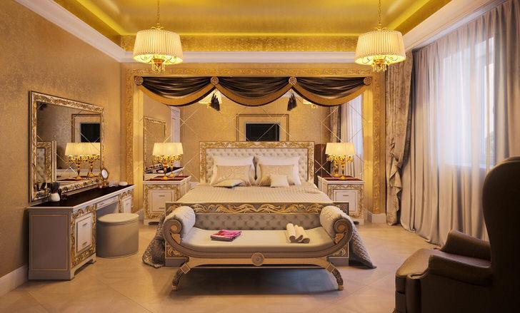 Креативным дизайнерским решением становится зеркальная стена в изголовье кровати.