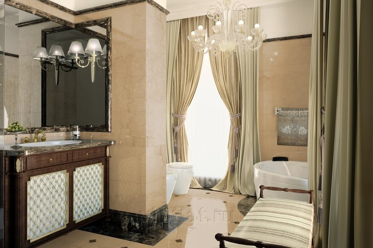 Благородное оформление ванной в стиле неоклассицизм подчеркнуто правильно подобранной мебелью.