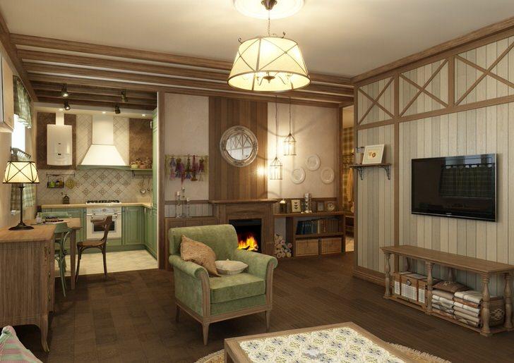 Удачный выбор места для размещения светильника в стиле кантри - деревянный комод.