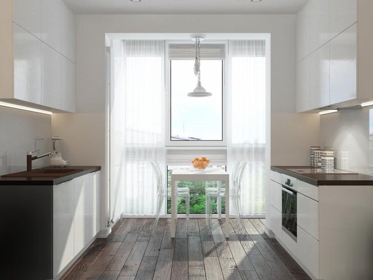 Кухня-рукав отличный выбор для организации интерьера небольшого помещения.
