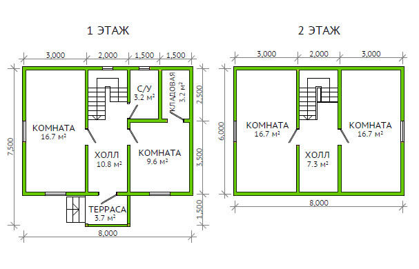 План двухэтажного дома с четырьмя спальнями.