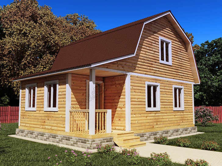 Простой в исполнении деревянный дом с мансардой.