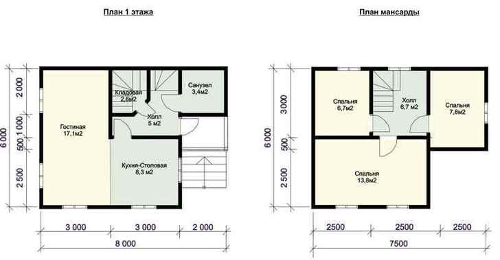 Вариант планировки первого и второго этажей деревянного дома с массандрой.