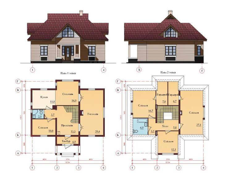 Проект просторного дома с пятью спальнями и гостиной.