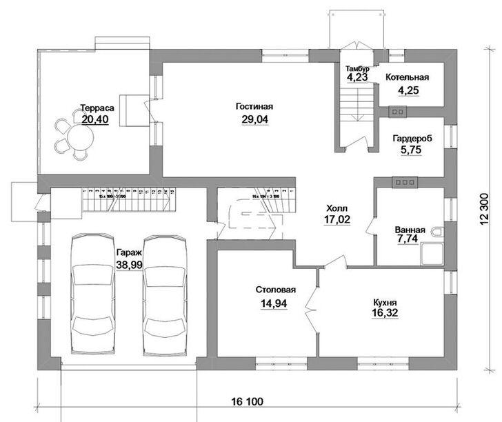 Проект первого этажа просторного дома с терассой и гаражом.