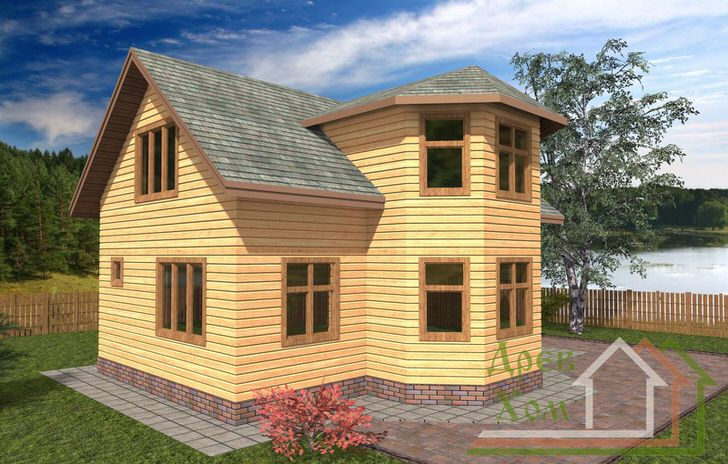 Деревянные дома 8 на 10 метров с выступающим эркером на 3 окна придадут дому с мансардой респектабельность и роскошь дворянской усадьбы.