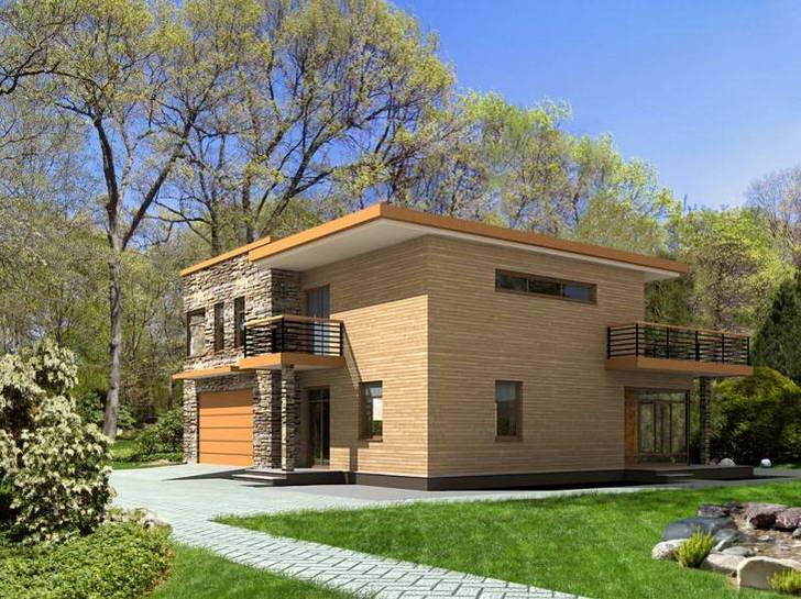 Двухэтажный дом в современном стиле хай-тек с плоской односкатной крышей.