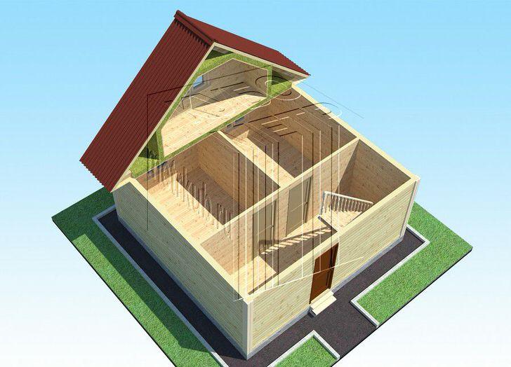 Типичный дом с мансардой, двумя маленькими комнатами на 1 этаже и просторной спальни на втором.