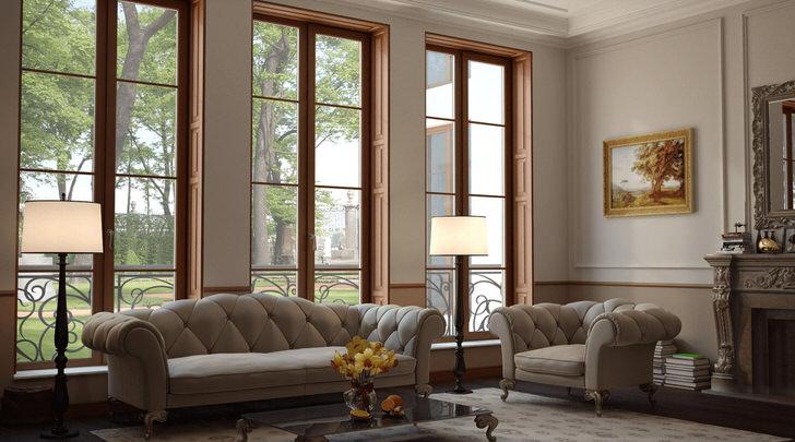Высокие деревянные окна из дуба в гостиной стиля модерн.