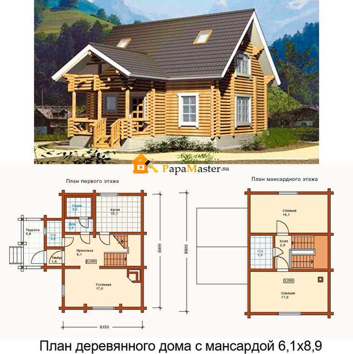 Проект деревянного дома с мансардой 6 на 9 метров. Чудесный теремок из оцилиндрованного бревна.