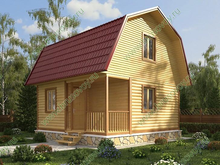 Дачный дом 6 на 6 метров с терассой и ломанной крышей.