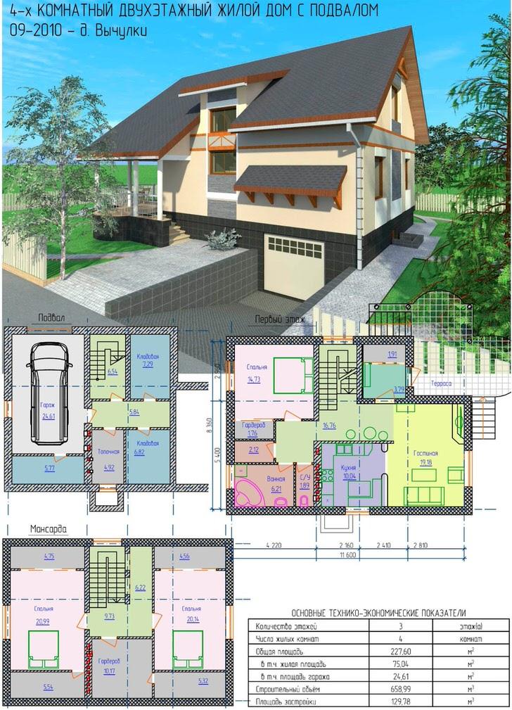 Дом с мансардой и гаражом в цокальном этаже.