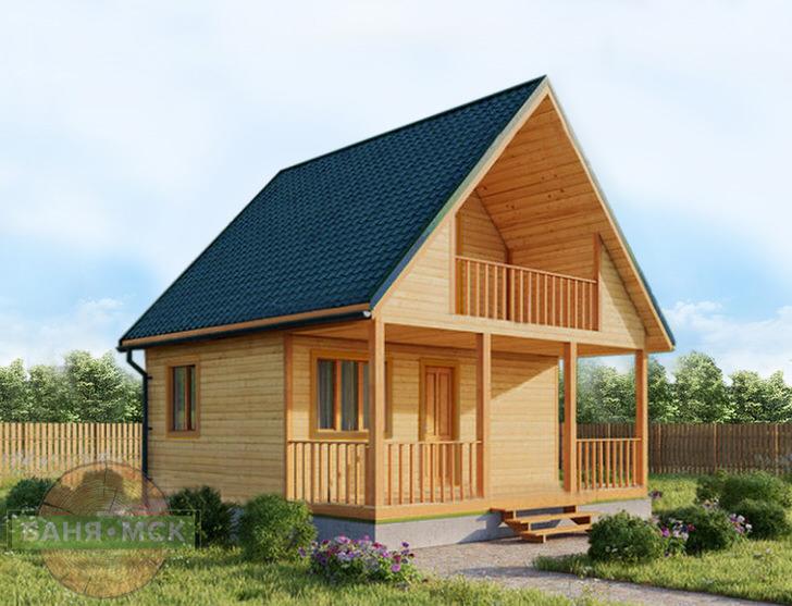 проживания с ранней весны до поздней осени. Дом из бруса спроектирован с большой террасой и балконом, такой проект подойдет для южных районов России.