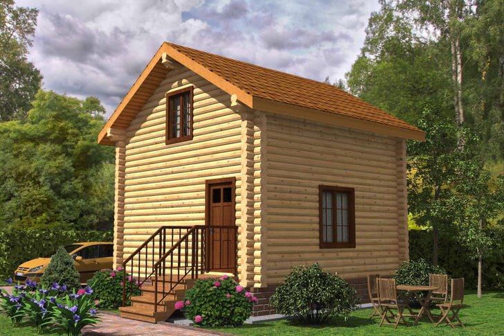 Качественный бревенчатый дом с мансардой 5,4 на 5,4 метра. Внешняя простота проекта дома без предбанников. крылец и кукушек компенсирует природная теплота светлого дерева.