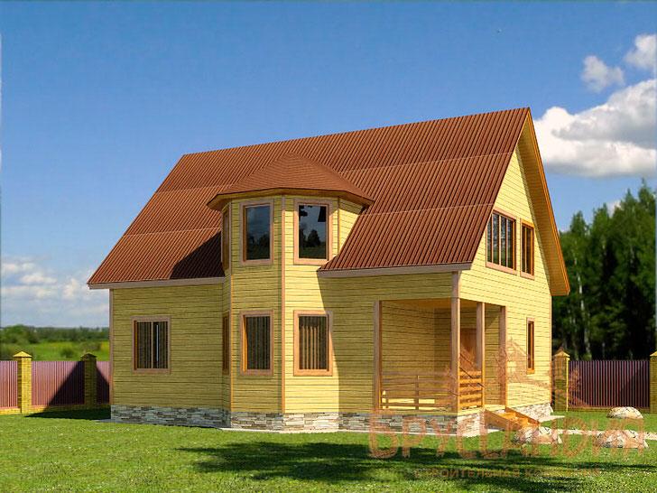Просторный дом с мансардой и эркером общей площадью 156 кв. м.