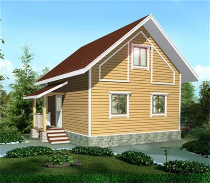 Проект непритязательного дома с мансардой 6 на 6 метров.