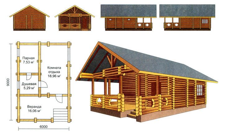 Интересный проект бревенчатого сруба бани с беседкой под одной крышей.