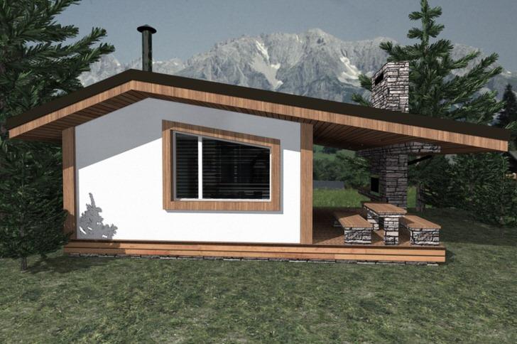 Проект бани с беседкой и зоной барбекю в стиле альпийское шале.