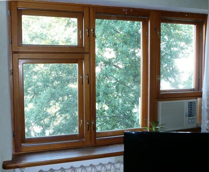 Деревянные окна из клеёного бруса