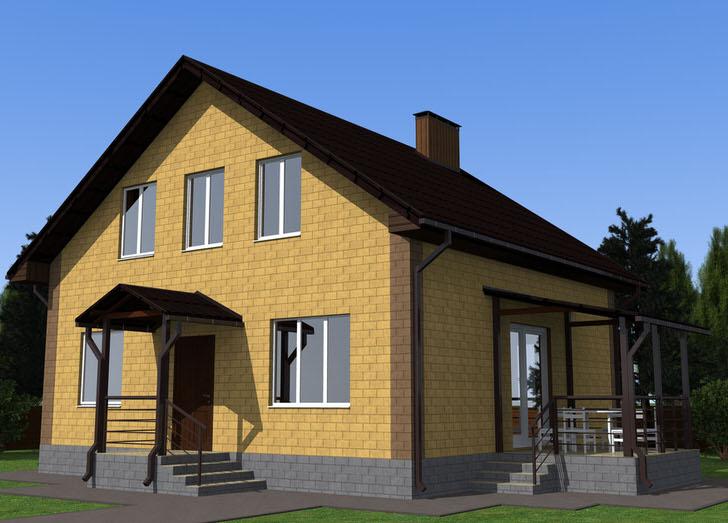 Классика строительства - красивый и надёжный кирпичный дом.