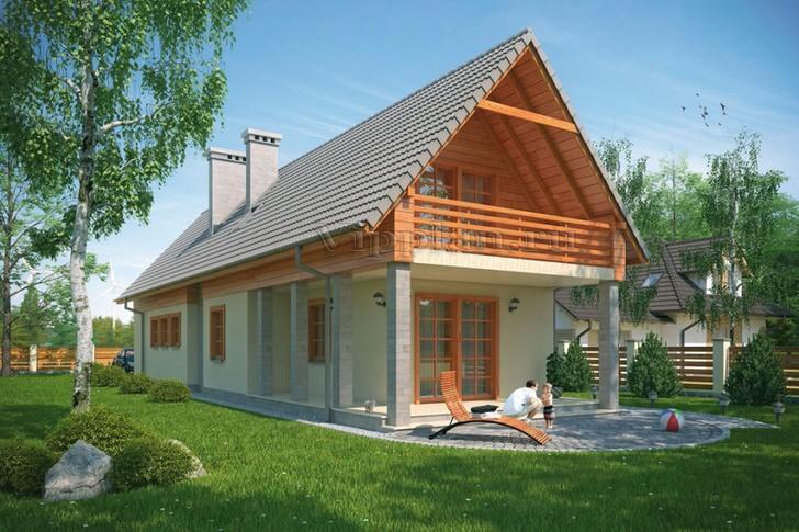 Узкий дом с мансардой