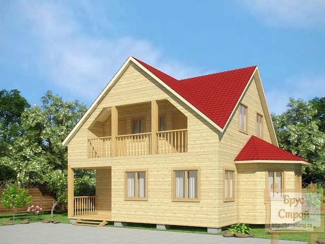 Проект дома из клееного бруса с балконом и эркером для просторной столовой.