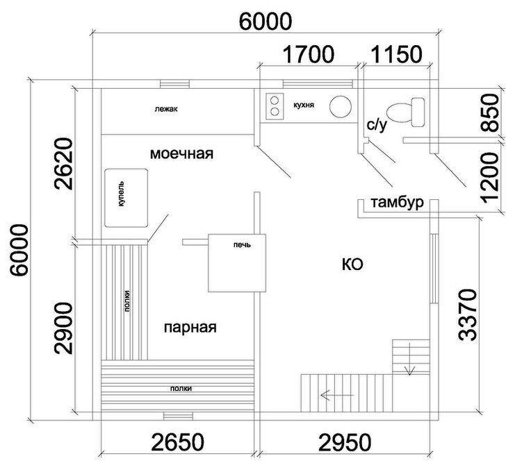 Один из вариантов планировки первого этажа дома с баней. Печь в центре помещения позволяет поддерживать тепло как в парной так и в комнате отдыха.