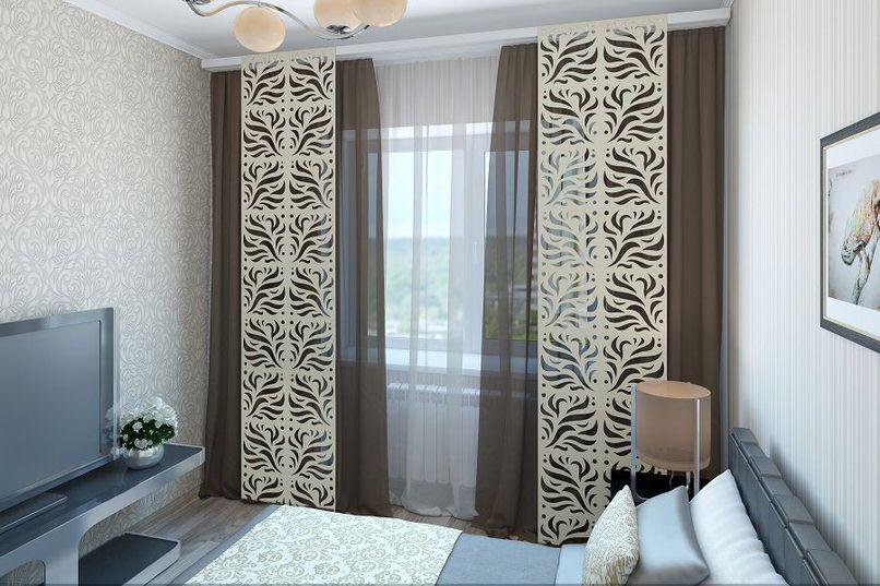 Самостоятельный дизайнерский проект ажурных японских штор для спальни как элемент декора.